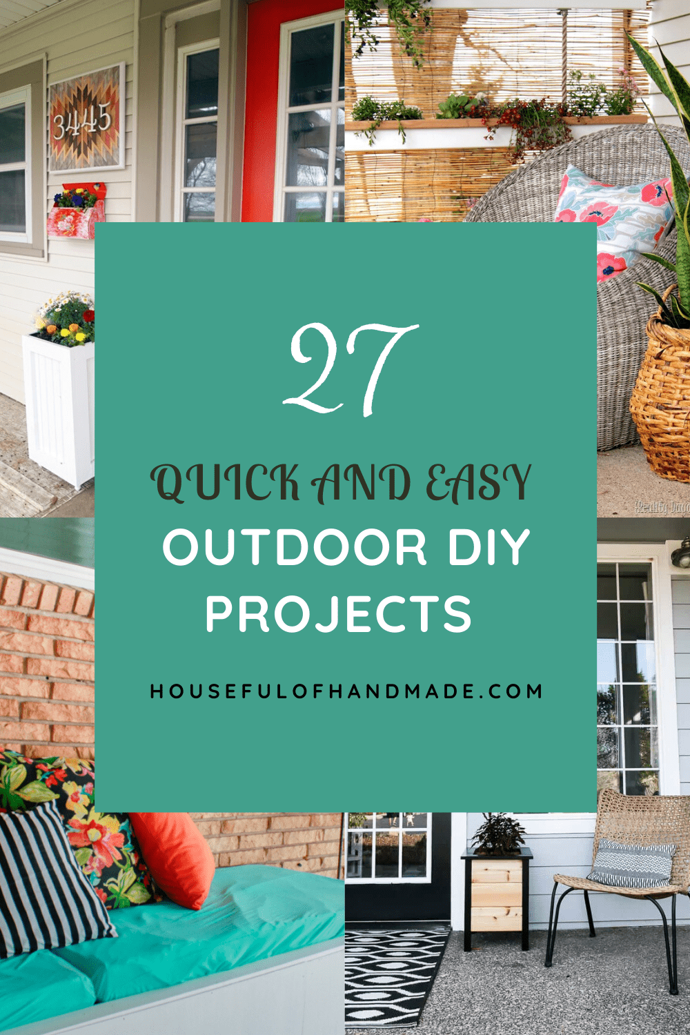 collage of four outdoor diy projects