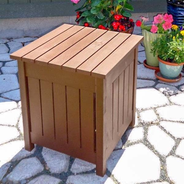 DIY Outdoor Side Table with Cooler (Easy + Unique)