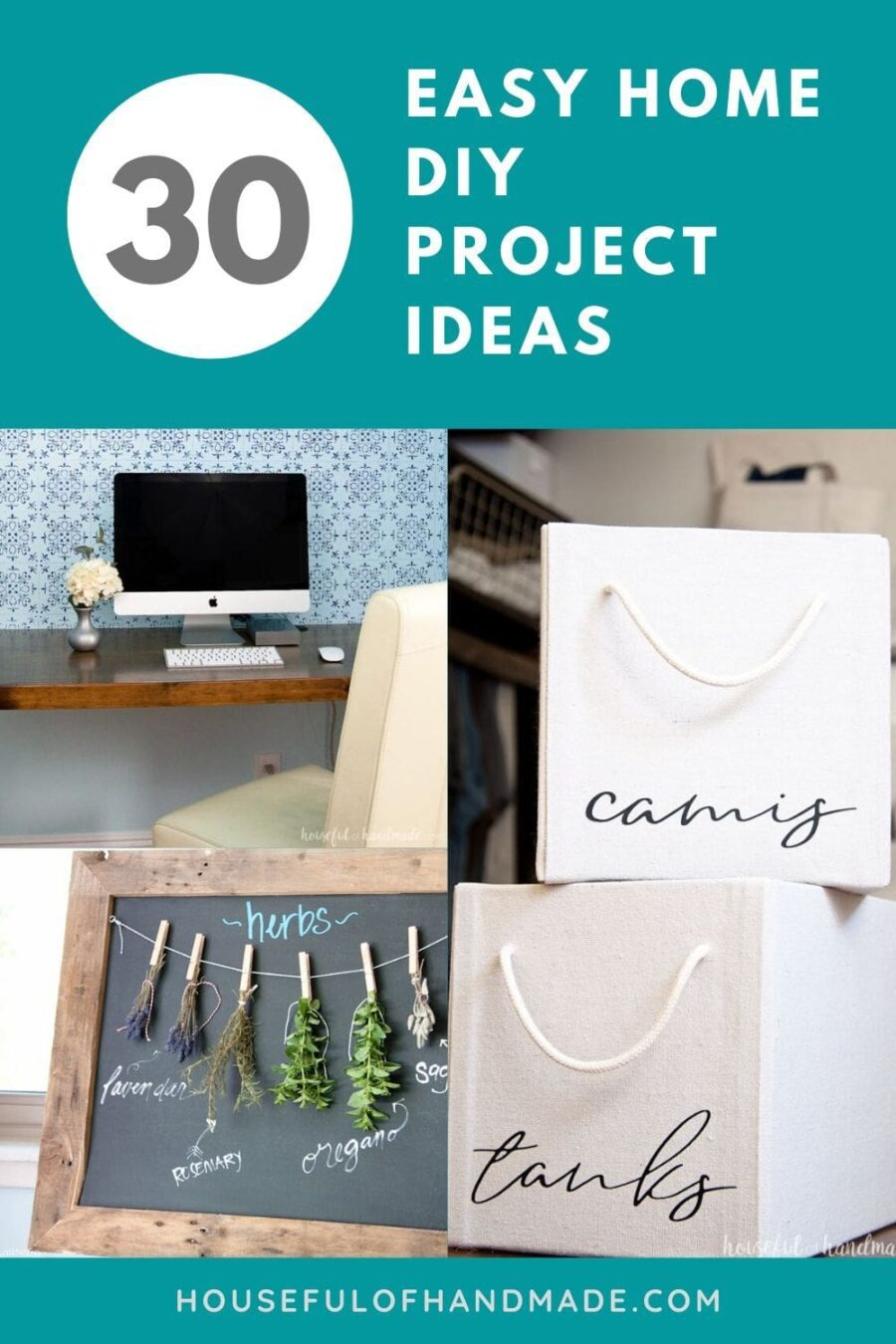 collage of three home diy projects with teal background