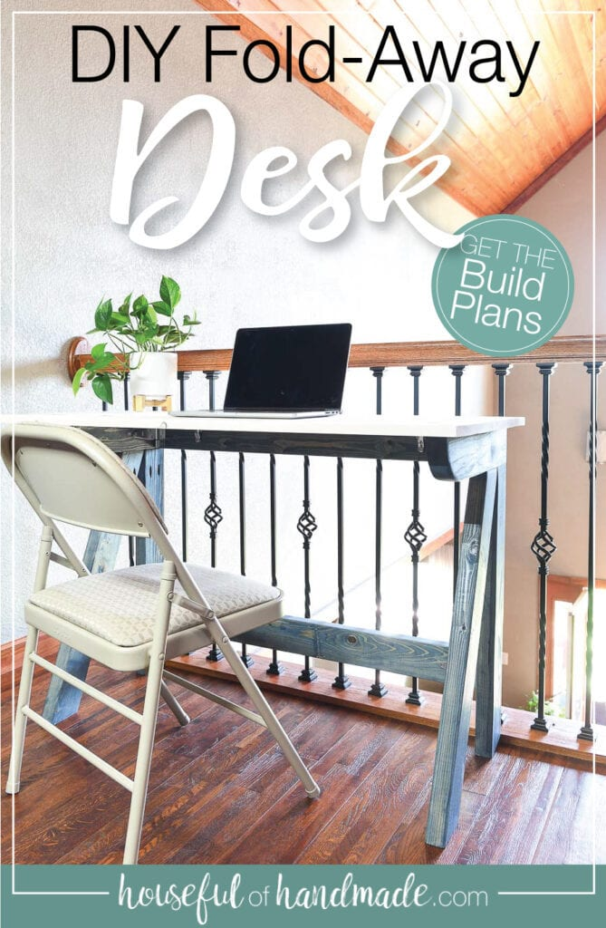 Beautiful DIY desk on a loft overlooking the room below.