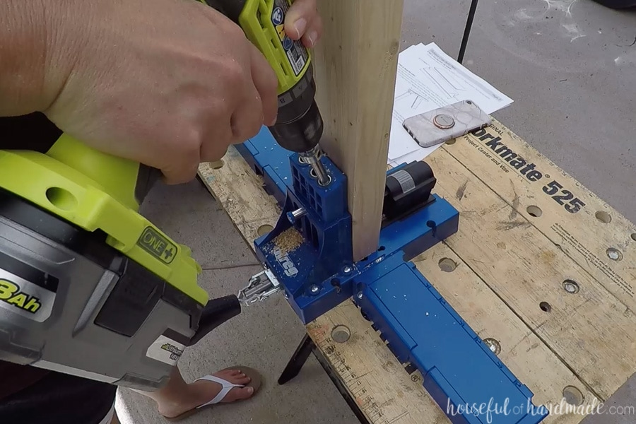 Drilling pocket holes to assemble the outdoor chair.