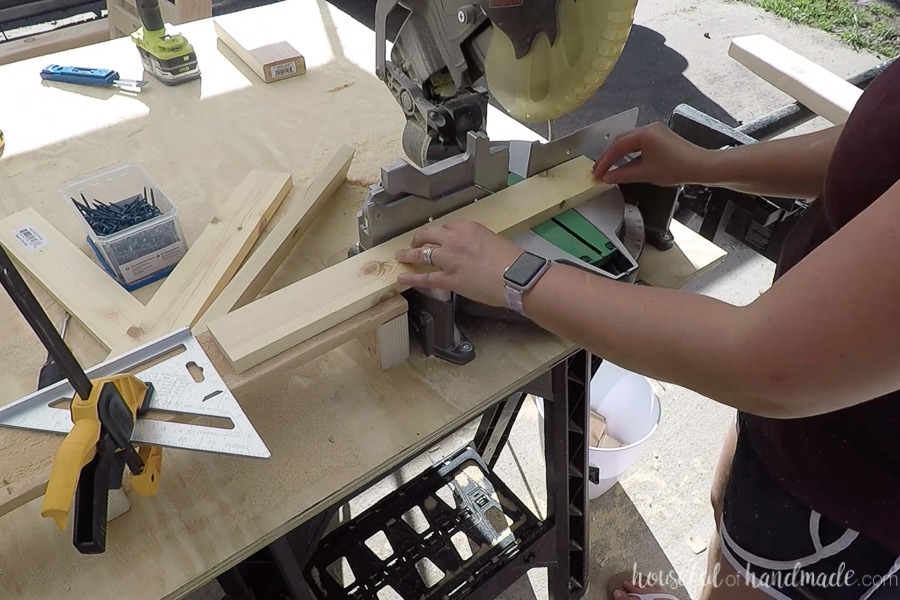 Cutting 1x3s for the seat and back of the outdoor lounge chair.