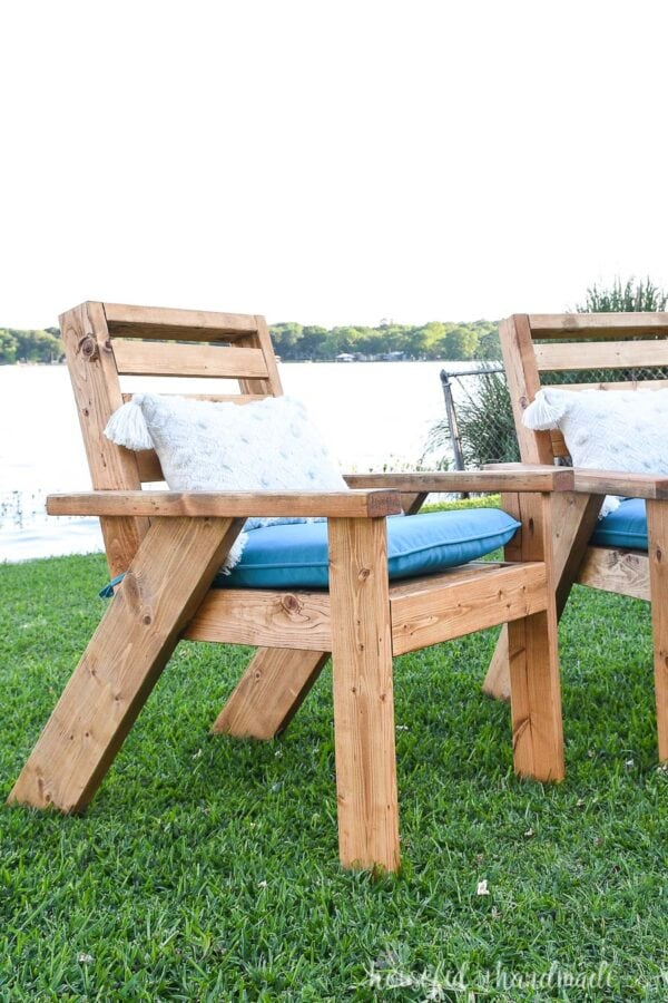 Close-up view of the side of the modern Adirondack outdoor chair.
