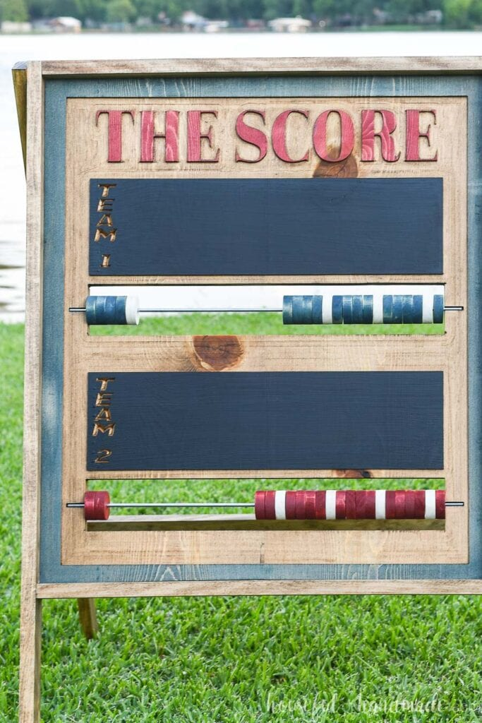 Straight on view of the outdoor scoreboard carved with a CNC machine.