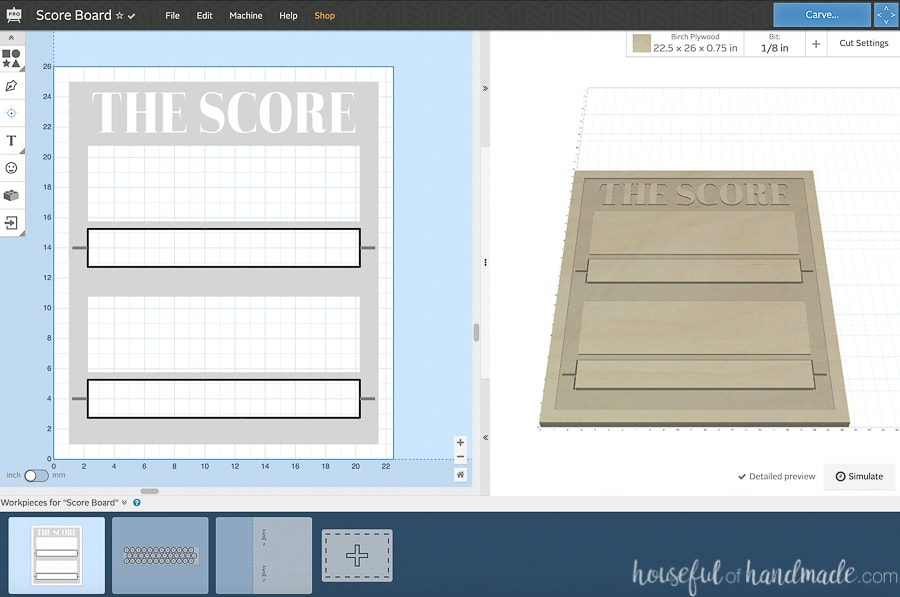 Easel screenshot of the three workpieces for the scoreboard DIY.