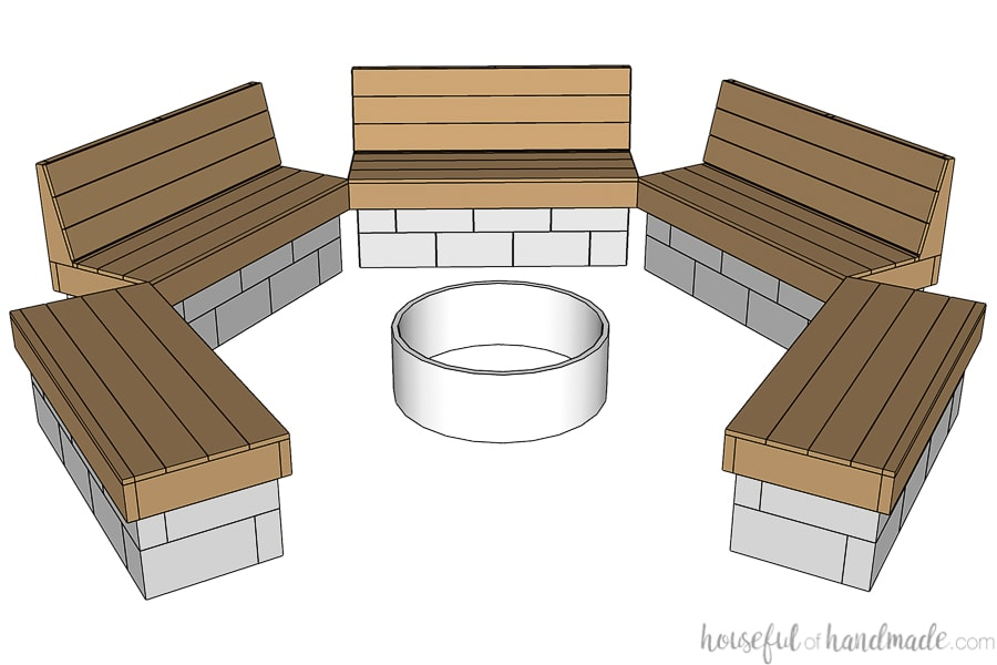 3D SketchUp drawing of the design of the fire pit benches.