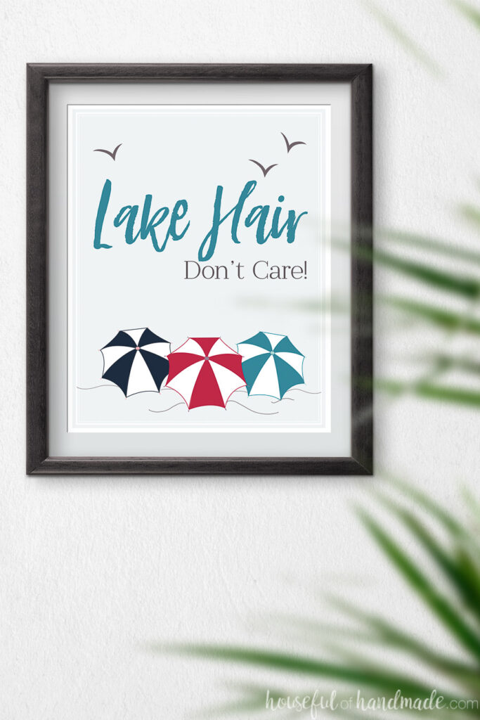 Lake Hair printable with 3 colorful beach umbrellas.
