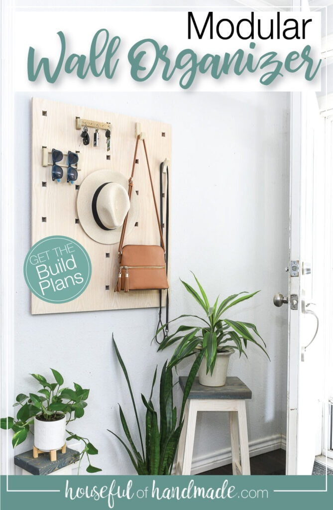 Modular wall organizer hanging in the entryway with text overlay.