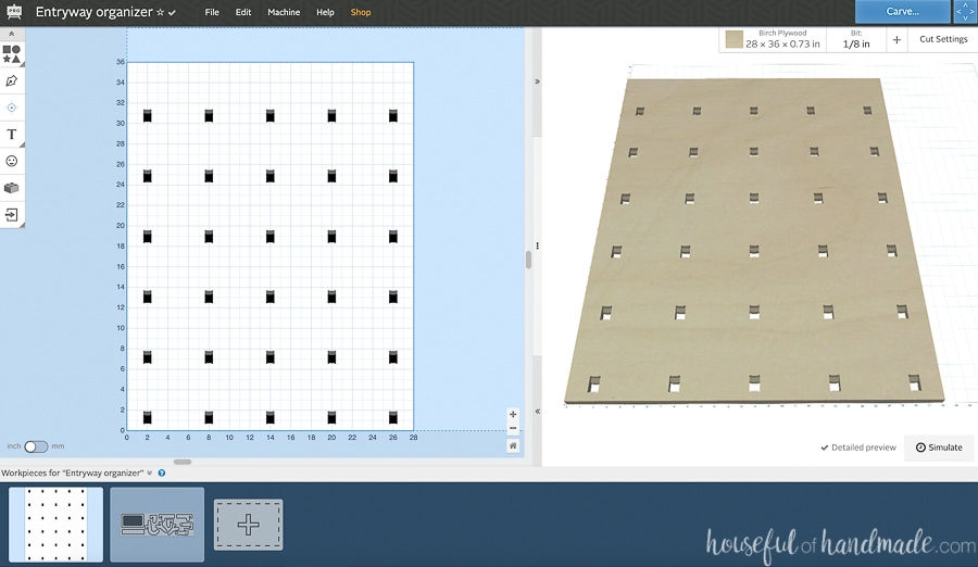 Screenshot of the CNC cut file open in the Easel software.