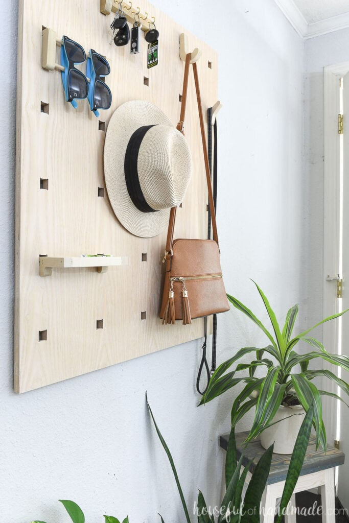 Side view of the items hanging on the entryway wall organizer next to some plants.