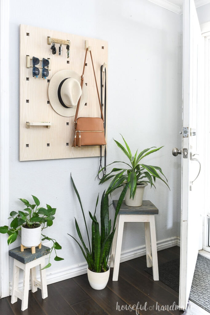 Entryway organizer with hooks to hold purses, hats, sunglasses, keys and a tray for emptying your pockets hanging on a wall above house plants.
