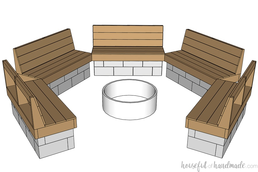 3D SketchUp drawing of the completed hexagon shaped fire pit area with seating.