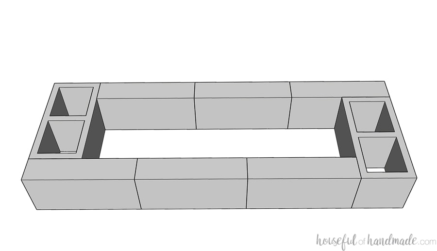 3D SketchUp drawing of the first row of cinder block for the seat bases.