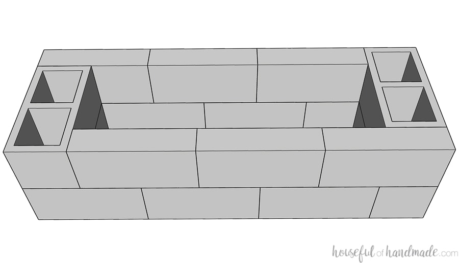 SketchUp drawing of the cinder blocks and caps for the fire pit seating bases.