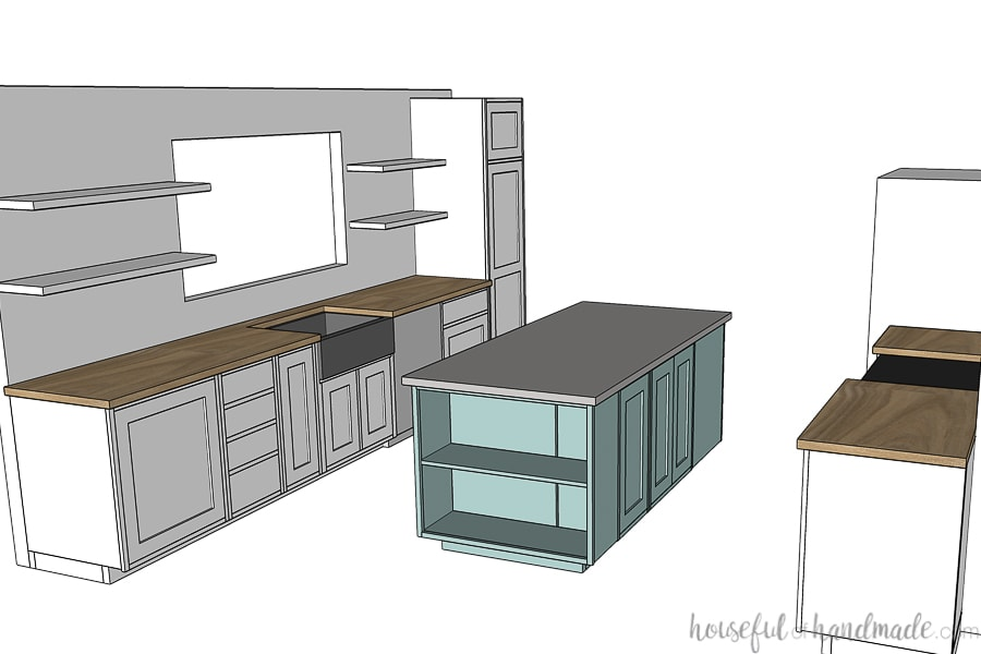 3D SketchUp drawing of the plan for the DIY kitchen remodel with blue kitchen island and stainless steel apron front sink.