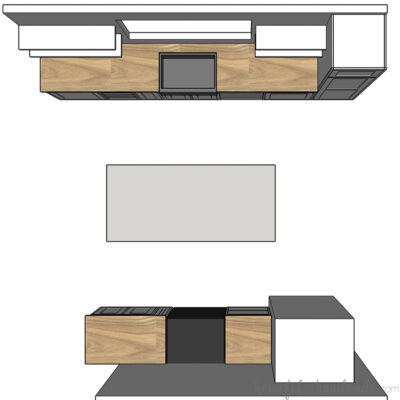 Top down view of the floor layout of the budget kitchen remodel.