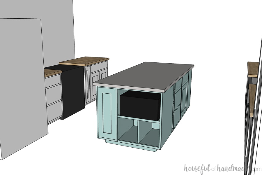 3D drawing of the back of the kitchen island and looking over the fridge & stove side of the kitchen.