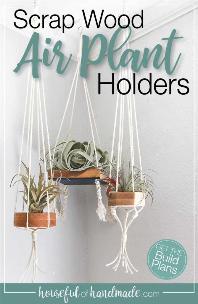 Three hanging air plant holders with macrame cord and text overlay.