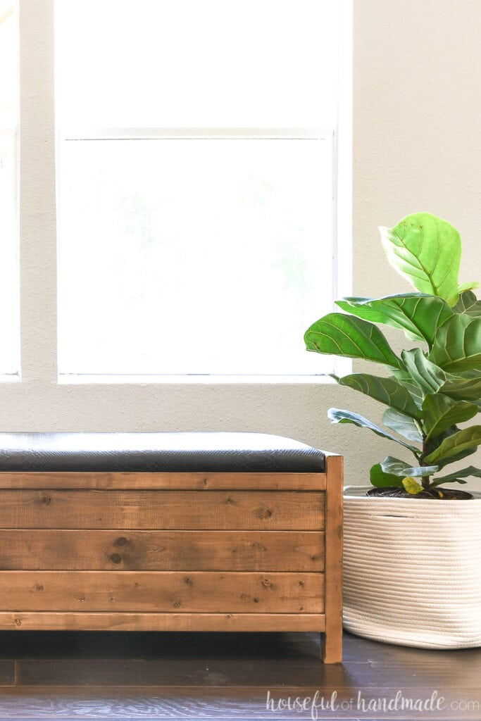 Half of the brown stained wood storage bench upholstered with a black faux leather top next to a plant in a cloth basket.