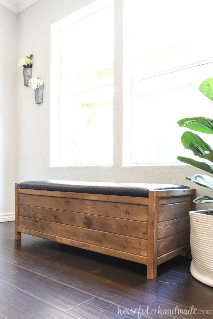 Upholstered storage bench with faux black leather top in front of a window next to a fiddle leaf fig plant.