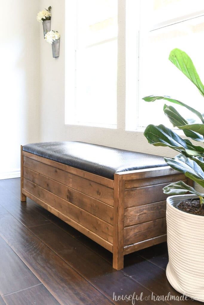 Brown and black farmhouse storage bench against light gray walls next to a fiddle leaf fig tree.