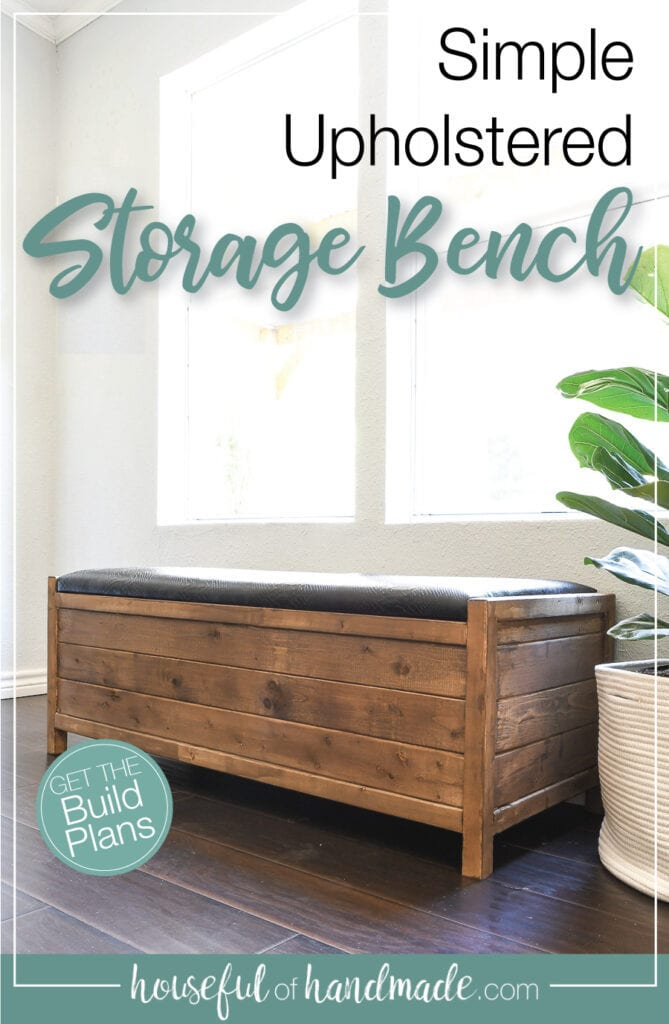 Wood storage bench with black upholstered top in front of a window with text overlay.