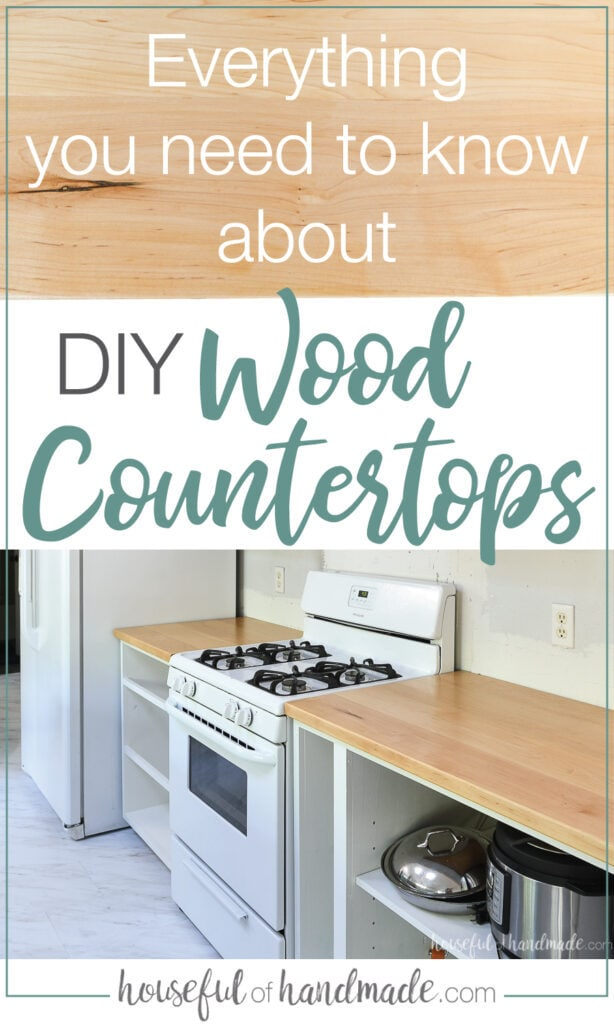 "Two pictures of the DIY wood countertops installed in the kitchen with text overlay saying ""Everything you need to know about DIY wood countertops"" and ""housefulofhandmade.com"" on it."