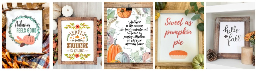 Pictures of 5 fall printables as part of the fall printable blog hop.