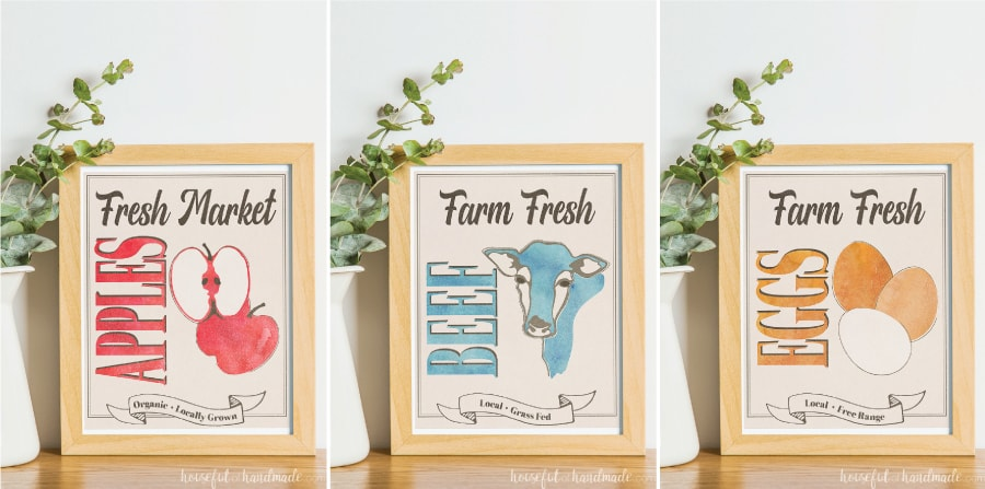 Three farm inspired fall printables: fresh market apples, farm fresh beef, and farm fresh eggs.
