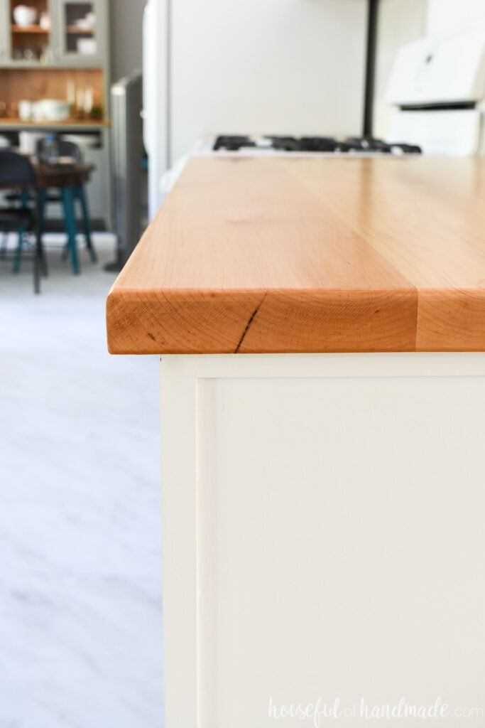 Showing the tight end grain of the maple boards used for the DIY wood countertop.