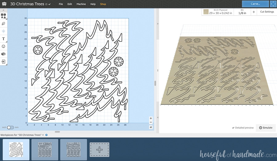 Screenshot of the 3D Wood christmas tree cut files open in the Easel program for the X-carve CNC machine.