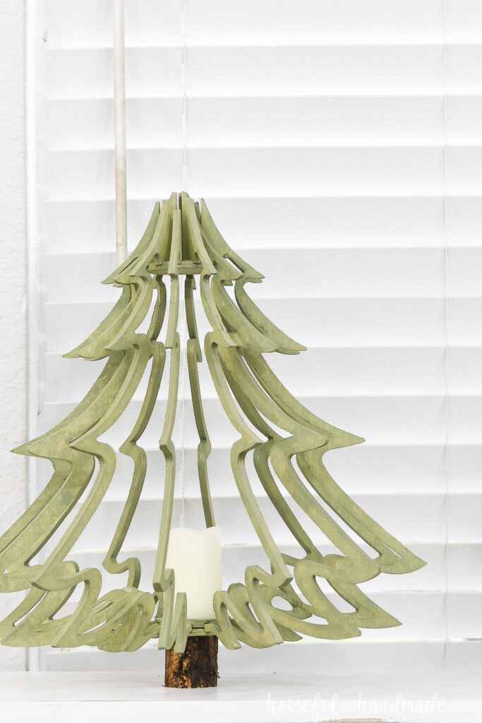 Close up of the green stained classic shaped 3D Christmas tree.