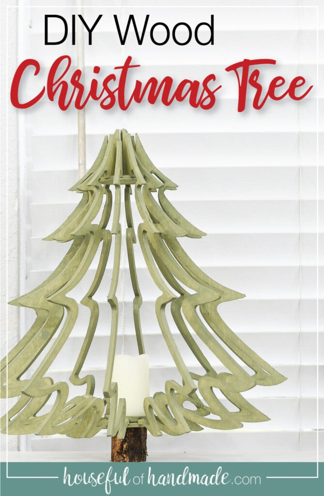 Green stained wood Christmas tree made from plywood with text overlay: DIY wood Christmas tree.
