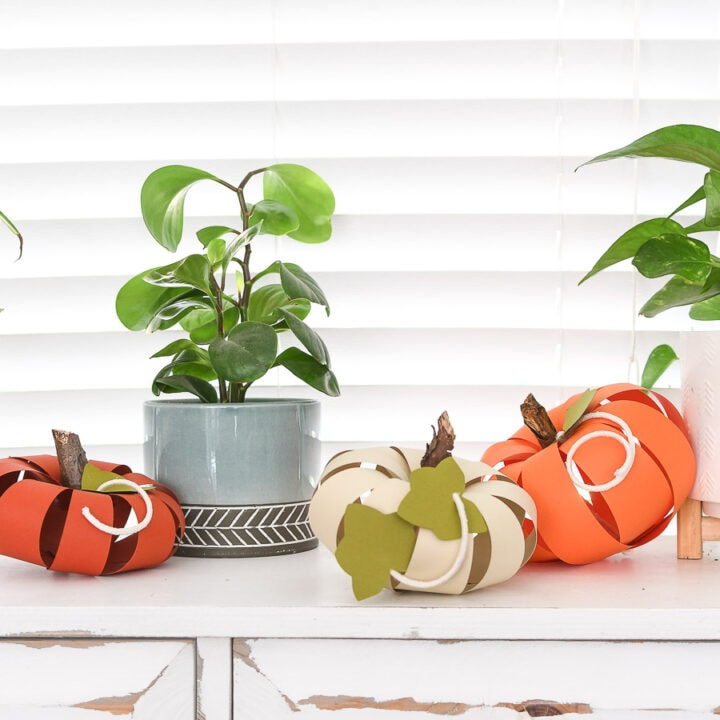 Console table with 3 paper pumpkins in oranges and cream next to two potted house plants.
