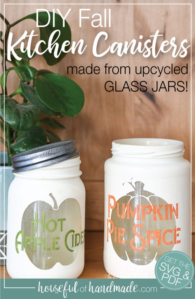 "Two DIY kitchen canisters with fall decor with text ""DIY Fall Kitchen canisters made from upcycled glass jars!"" on it."