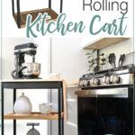 3D sketchup image of the rolling kitchen cart and a photo of the completed kitchen cart in the kitchen with text overlay: DIY Modern Rolling Kitchen cart, Get the build plans.""