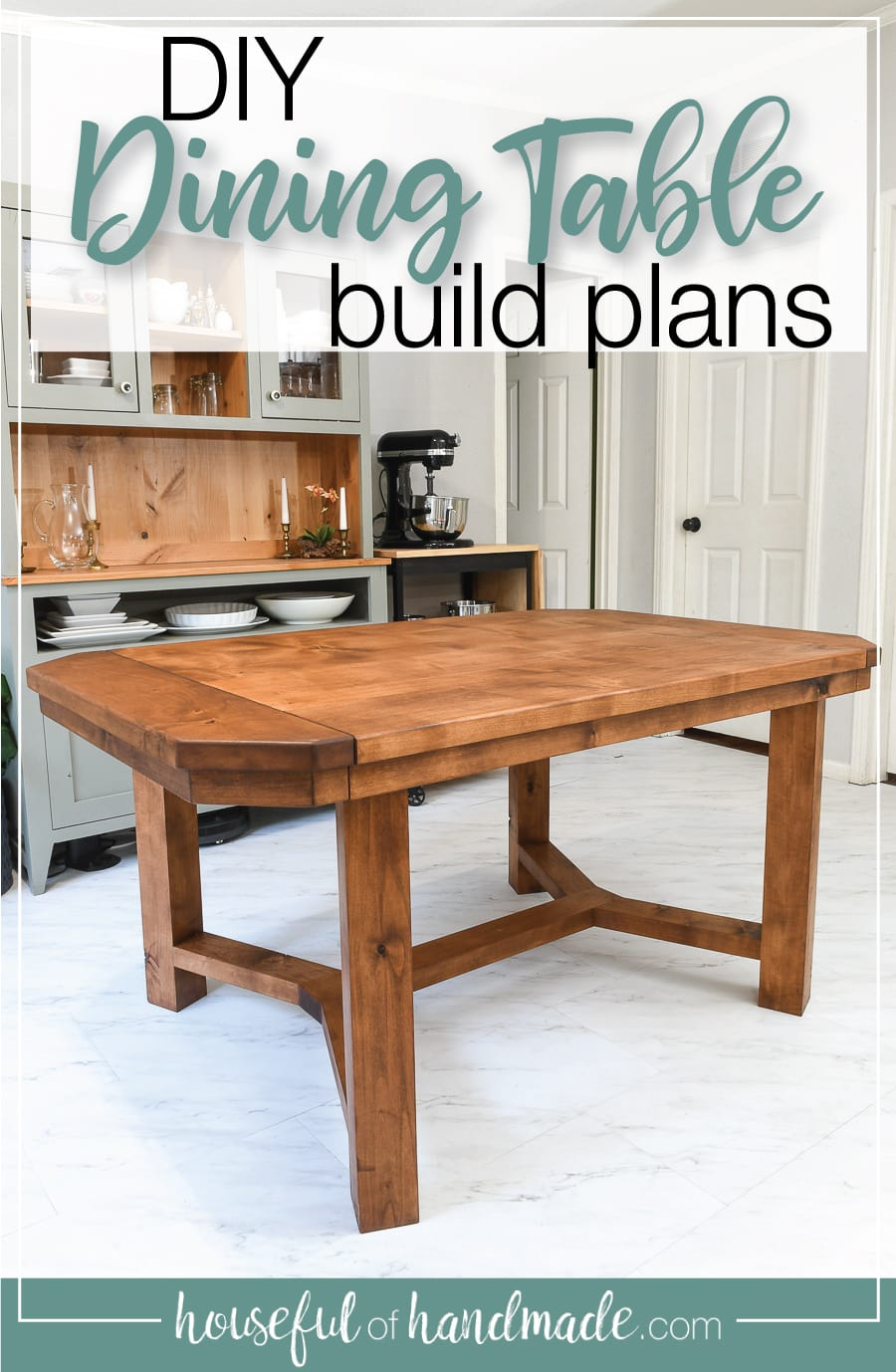 DIY dining room table in a dining room with a hutch in the background with text overlay: DIY Dining table build plans.