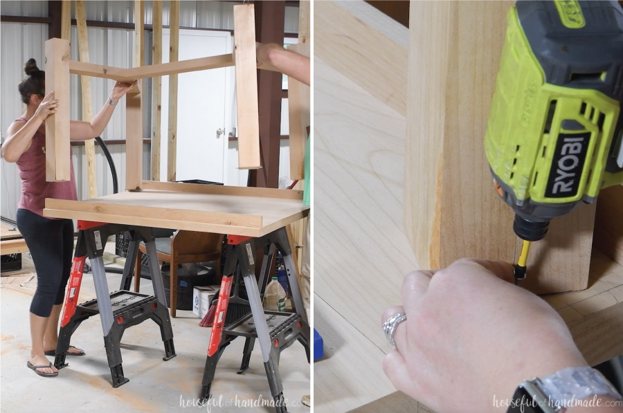 Placing the table base on top of the table top and securing it with the figure 8 fasteners.