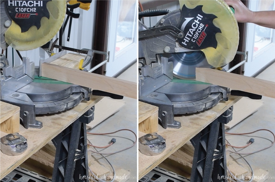 "Cutting the 67 1/2"" angle on the miter saw with a jig."