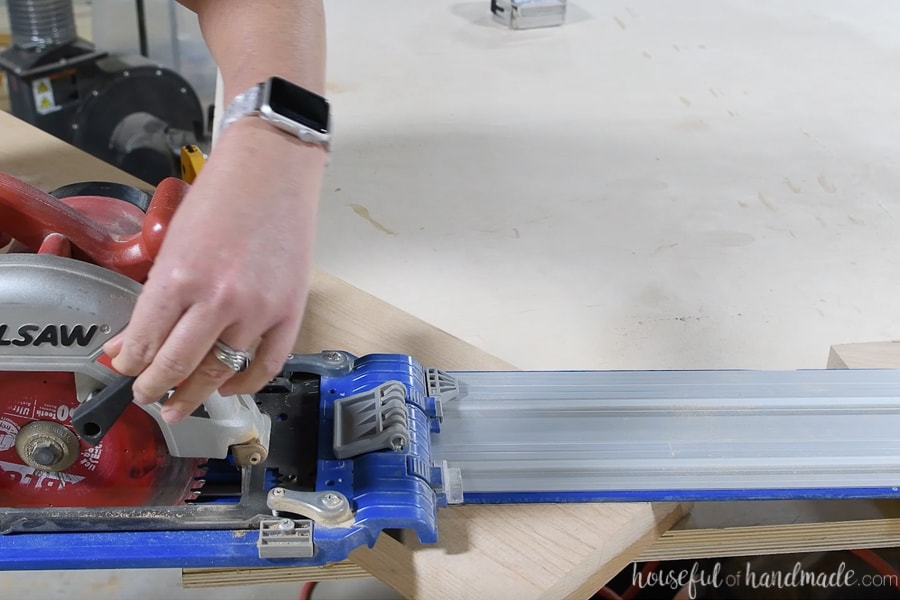 Cutting the corner off the breadboard board with a circular saw and Kreg Accucut guide track.