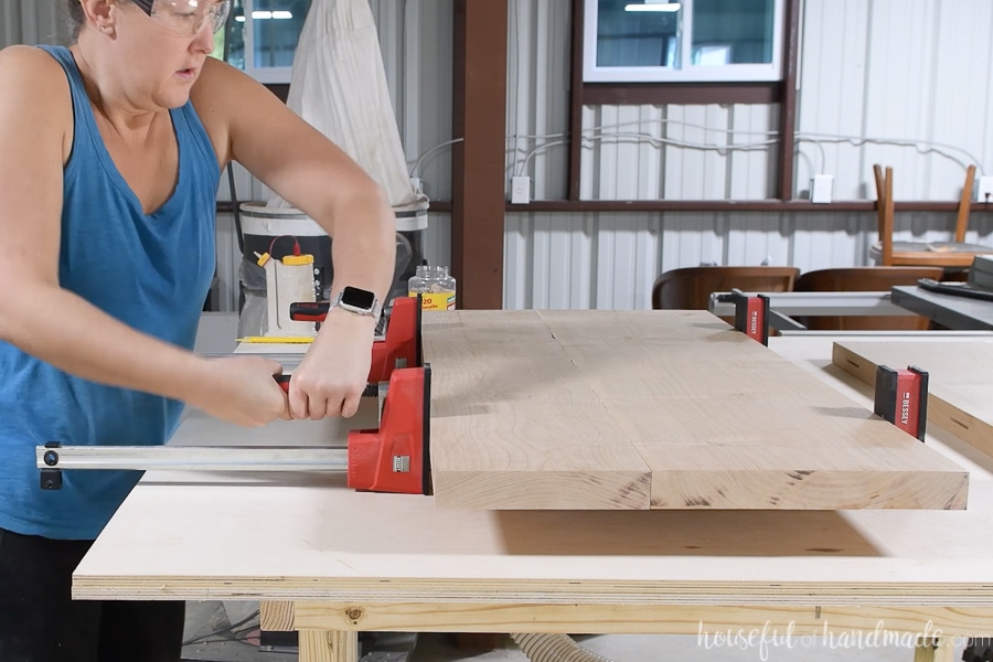 Clamping the boards together with Bessey clamps.
