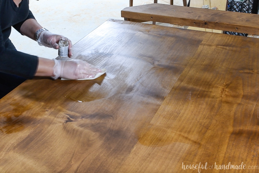 Buffing in the tung oil finish with a lint free rag.
