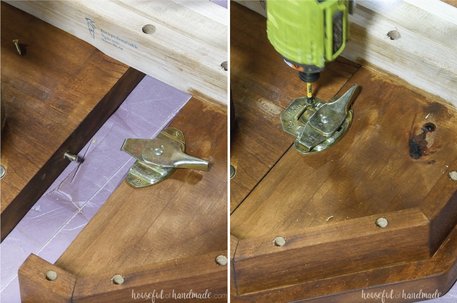 Attaching a table leaf lock to the underside of the breadboard end and table top.