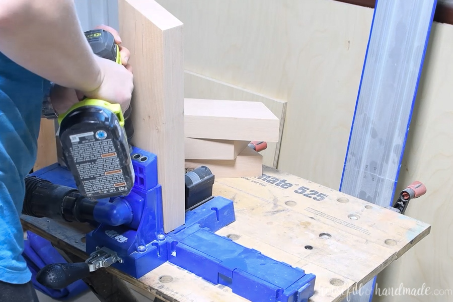 Adding pocket holes to the base sides on a Kreg jig.