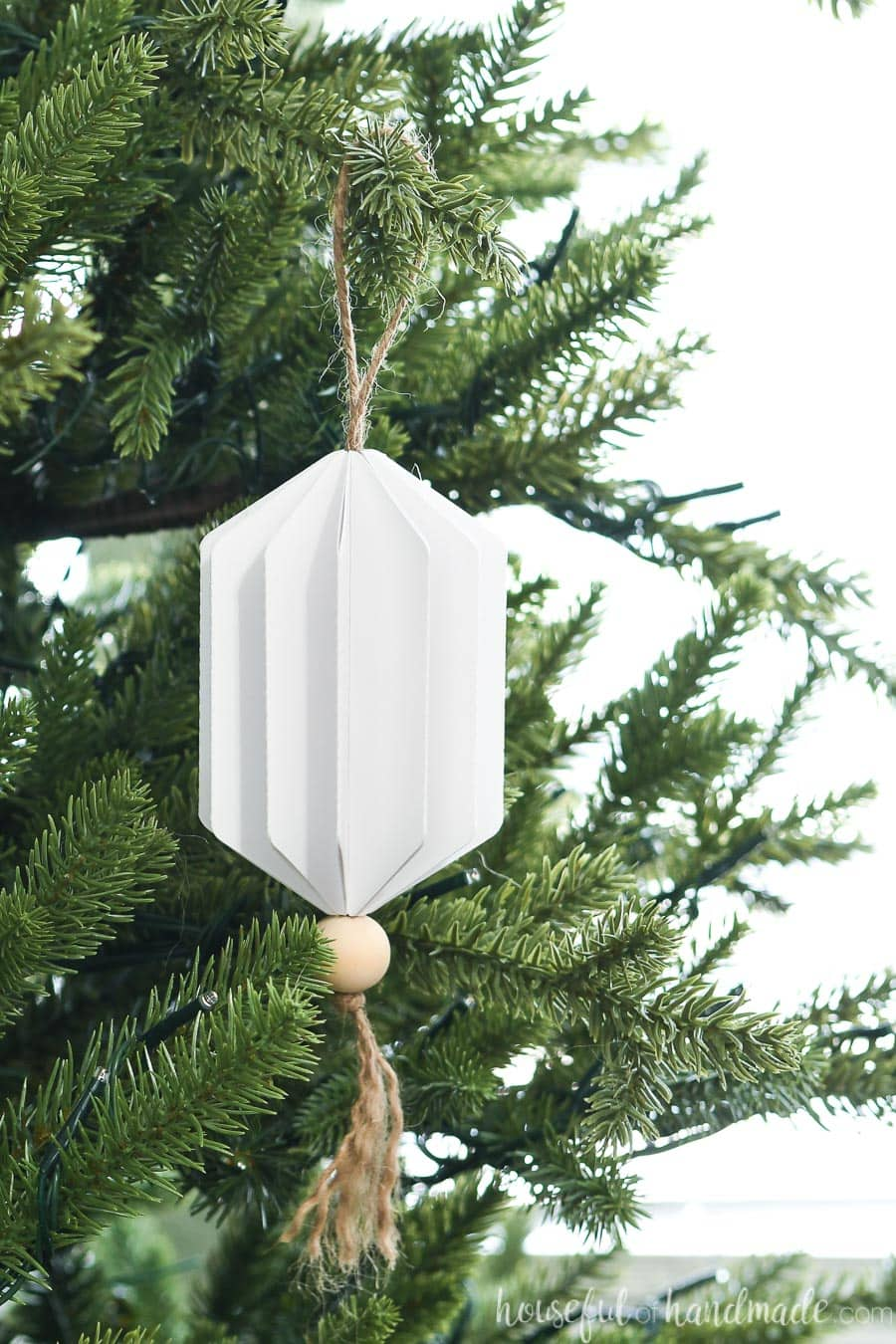 Close up of the emerald shaped 3D paper Christmas ornament made from paper.