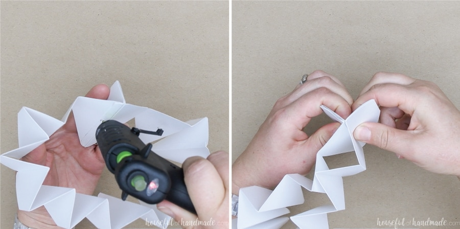 Two pictures: one showing a dot of glue being applied to the inside of the fold and the other showing the fold pinched together to secure.