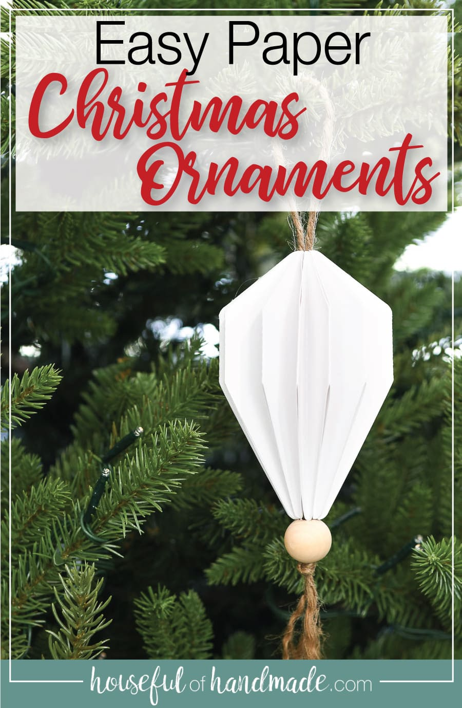 3D Jewel Christmas ornament hanging on a tree with text overlay: easy paper Christmas ornaments.
