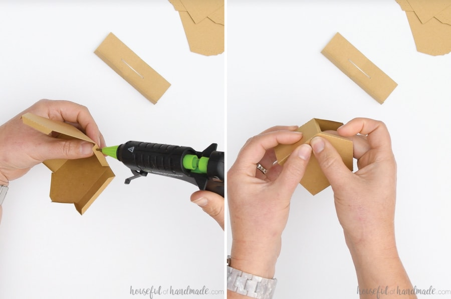 Two pictures: one showing adding glue to the side tab with a hot glue gun and the other showing the side being pinched closed to secure.