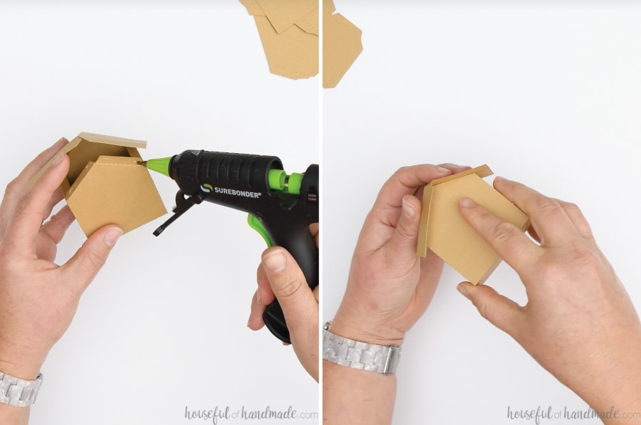 Two pictures showing adding glue and securing the roof to the front of the gingerbread house place card holder.