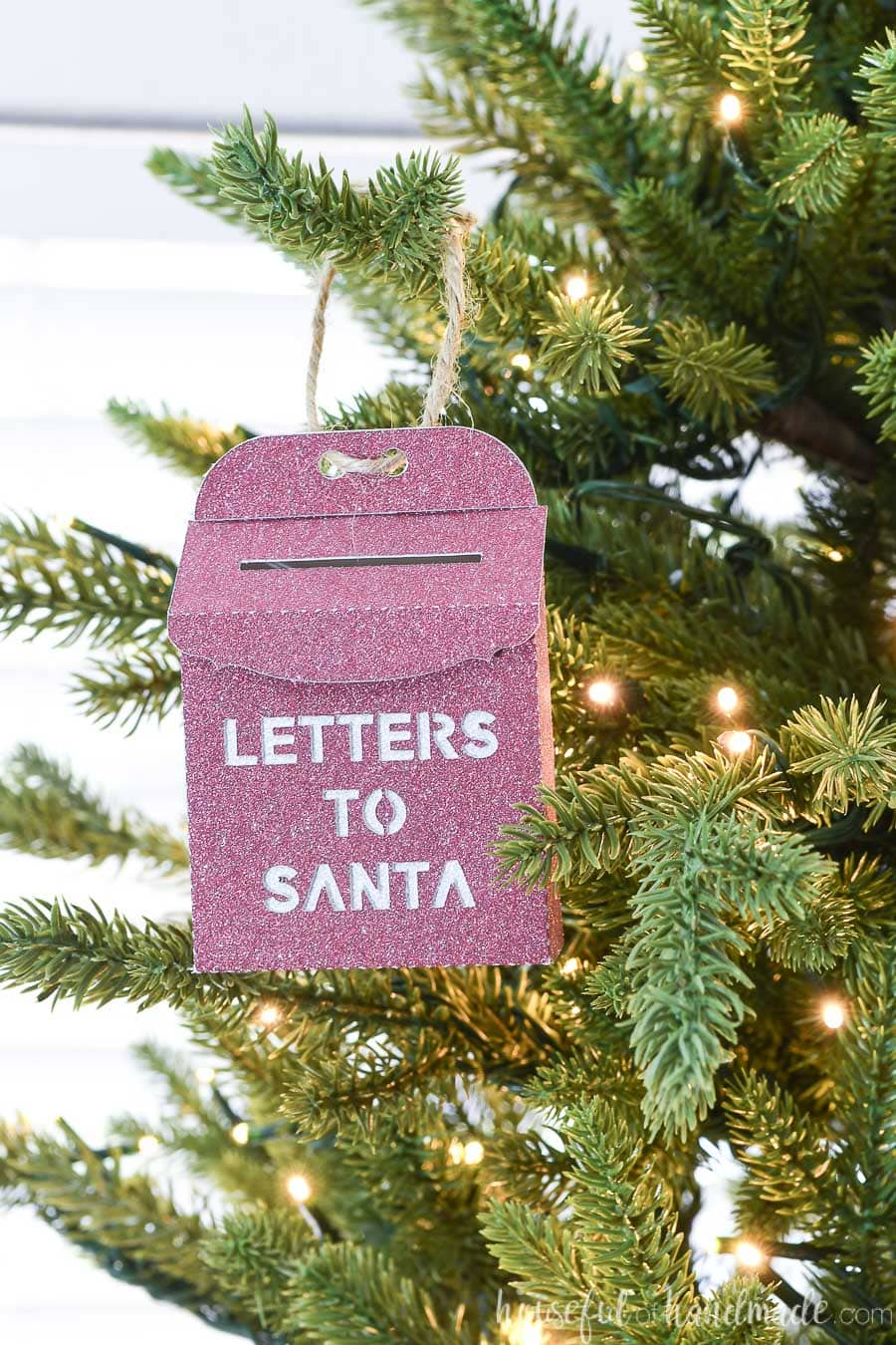 DIY miniature Letters to Santa mailbox as a Christmas ornament.